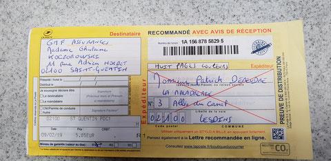 Le Verso de ma lettre recommandée du Samedi 09 Février 2019 N° 1A 156 878 5829 5 de Huit Pages en couleurs GMF ASSURANCES www.jesuisvictime.fr www.jesuispatrick.fr www.alerte-rouge-france.fr