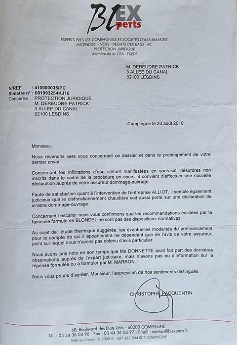 Le 23 Août 2010 Monsieur Christophe PACQUENTIN de chez BL EXPERTS m'adresse un courrier  BORDERLINE   EXPERTISES JUDICIAIRES ENTRE COPAINS...  www.jesuispatrick.fr