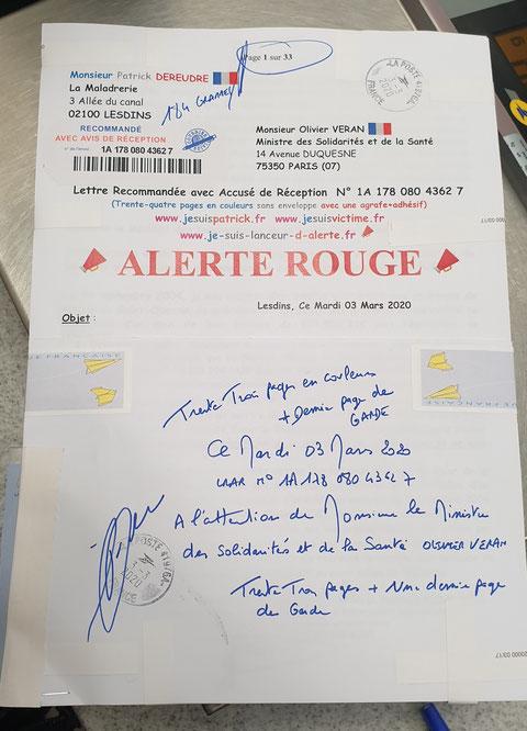 Ma LRAR à Monsieur Olivier VERAN le Ministre des Solidarités et de la Santé N° 1A 178 080 4362 7 de Trente Trois Pages en Couleurs Page de Garde www.jesuispatrick.com