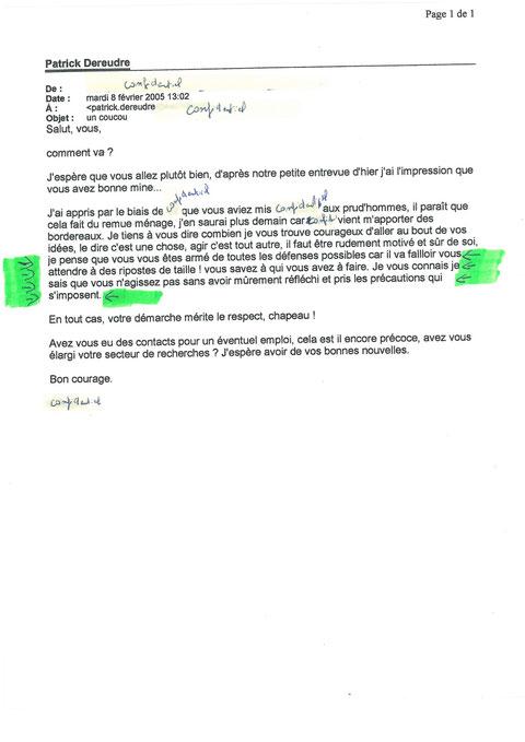 Mail du 08 février 2005 de ma Secrétaire de Direction de mon employeur