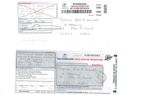 LRAR du 17 avril 2014 N°1A 099 029 6258 4 à Monsieur Le Procureur de Saint-Quentin (02100)   voir site www.maisonnonconforme.fr
