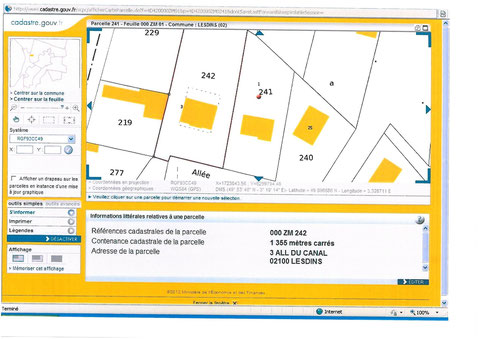 Parcelle 000 ZM 242 de 1355 métres carrés au 3 Allée du Canal 02100 LESDINS Mr & Mme Patrick DEREUDRE   voir site www.maisonnonconforme.fr