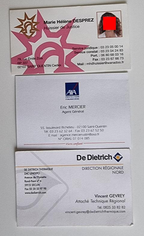 Un échantillon de cartes de visites www.jenesusipasunchien.fr www.jesuisvictime.fr www.jesuispatrick.fr