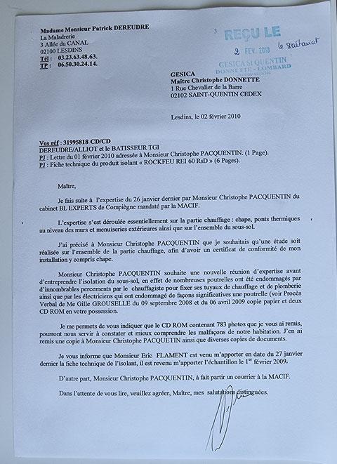 Le 02 Février 2010 je remet au secrétariat d eMaître Christophe DONNETTE du courrier  fait en double exemplaire contre cachet.     BORDERLINE   EXPERTISES JUDICIAIRES ENTRE COPAINS...  www.jesuispatrick.fr