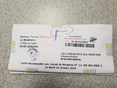 Le Verso de ma lettre recommandée du Mardi 23 Octobre 2018 de huit pages en couleurs N0 1A 150 842 8352 2 AXA ASSURANCES www.jesuispatrick.fr www.jesuisvictime.fr www.alerte-rouge-france.fr