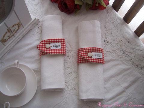 """Duo ronds de serviette """" pour une table Campagne Chic """"  Rser0304161"""
