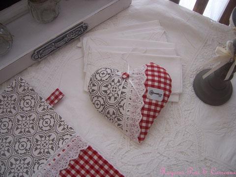 """Grand Coussin Déco / Coeur de lavande """" Campagne Chic et Carreaux de Faïence """" - Cl1005171 -"""