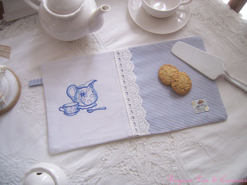 "*** nouvelle collection *** long set de table décoratif shabby "" petite pause thé "" -std0214181-"