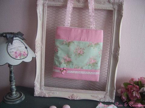 Sac/ Tote Bag Shabby et Rose Bonbon  -24euros (frais de port compris)- réf: Sac 0118161 -