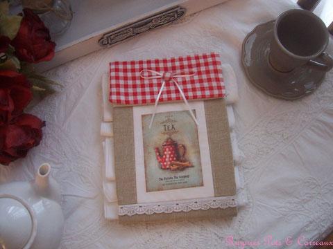"""Long présentoir pour serviettes d'invités imprimé shabby """" the victoria tea company"""" - Pr1025171 -"""