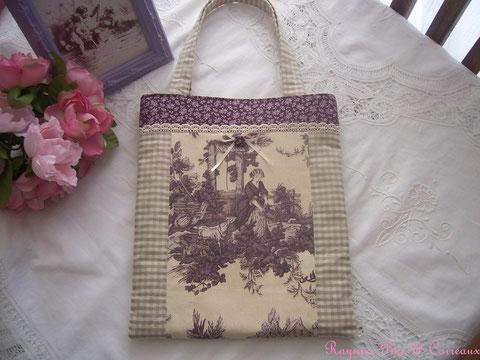 Sac/Tote Bag Toile de Jouy et Liberty  -26euros (frais de port compris)- réf: Sac 0110141