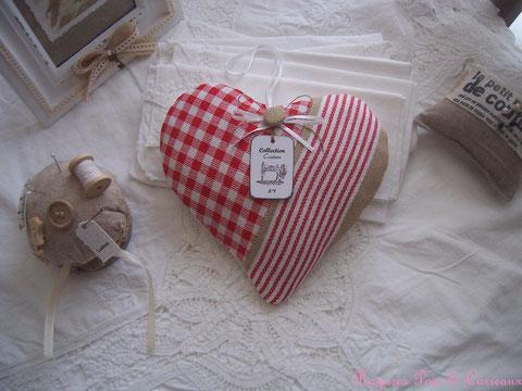 """*** nouvelle collection shabby couture *** grand coussin de porte déco / coeur de lavande """" campagne chic et couture """" - cl0109181-"""