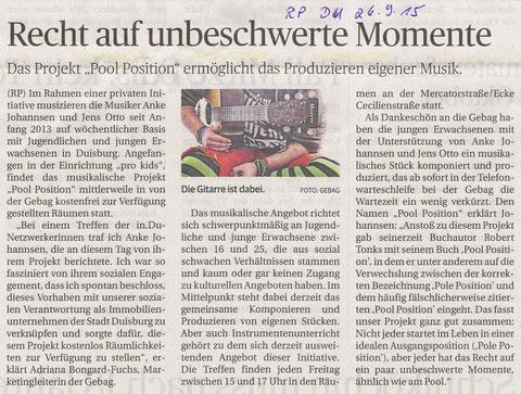 Artikel in der Rheinischen Post, 26.9.2015