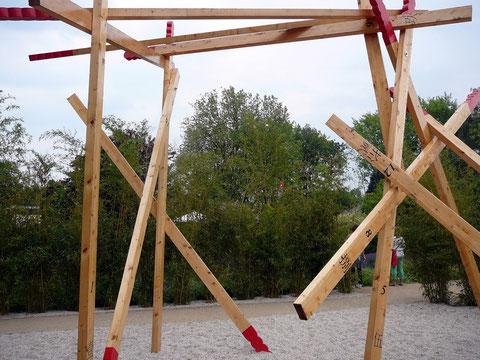 """Unsere """"Bambusstäbchen"""" sind sehr fantasievoll angeordnet!"""
