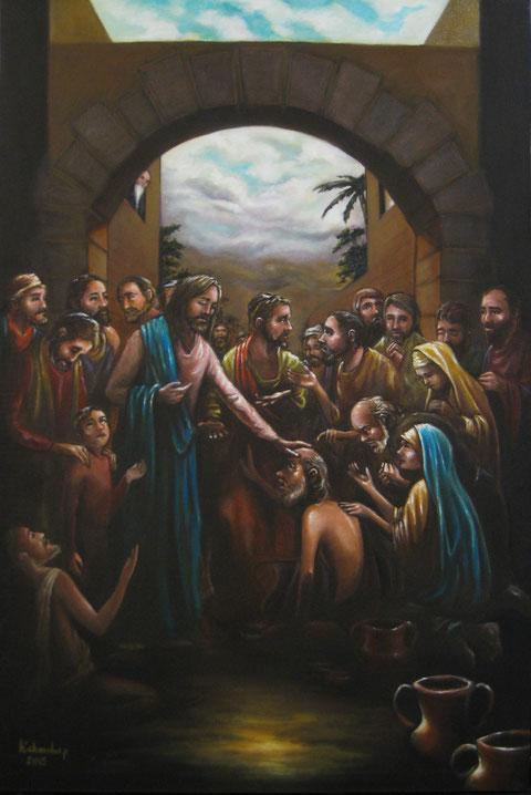 Jesús camina y sana a los necesitados.