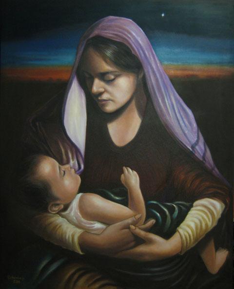 María arrulla a Jesús con los primeros rayos de luz del día.