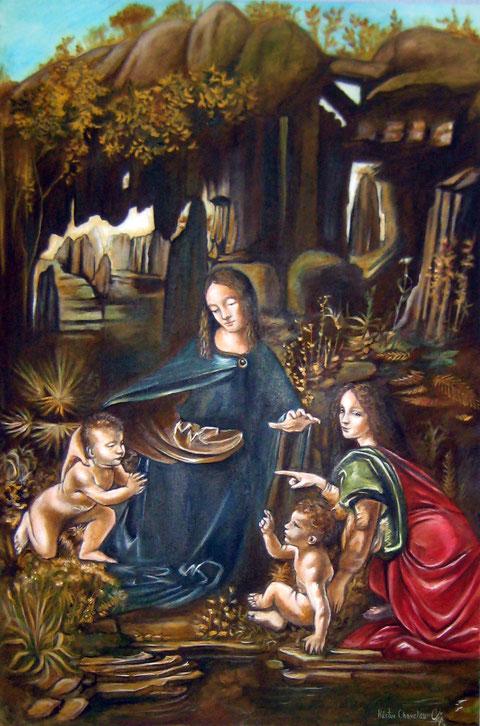 Virgen de las Rocas. Leonardo daVinci. 60X90 cm. Oleo sobre lienzo