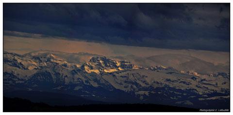 Alpensicht - Panorama mit 5 Bildern