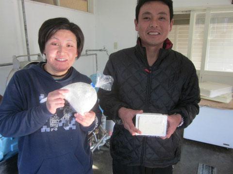 ↑2人の作るドン菓子、豆腐、味噌ははまなすでもとても好評です