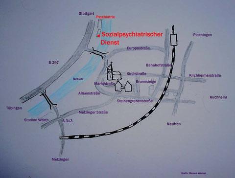 Von der Stadtmitte über die Stadtbrücke und hinter dem Neckar gleich rechts Richtung Psychiatrie