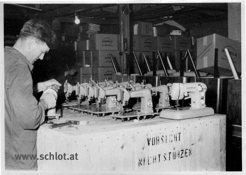 Verpackungsabteilung Maschinenfabrik Angeln in Kappeln an der Schlei (Bild: Eigentum Markus Mraz, Archiv www.schlot.at)