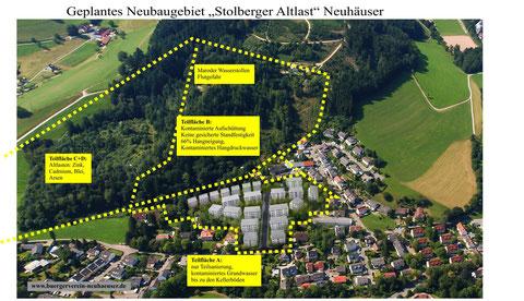 Luftbildaufnahme des geplanten Neubaugebietes Stolberg-Altlast Neuhäuser