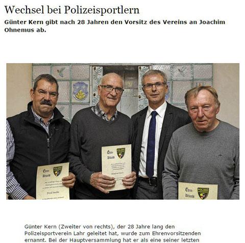 Der Neue Vorstand 2016  des Polizeisportvereins Lahr ; Quelle: Badische Zeitung 21.11.2016