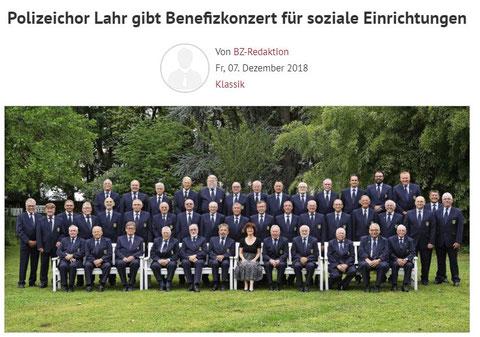 Benefizkonzert Dezember 2018 aus der  Badische Zeitung 07.12.2018