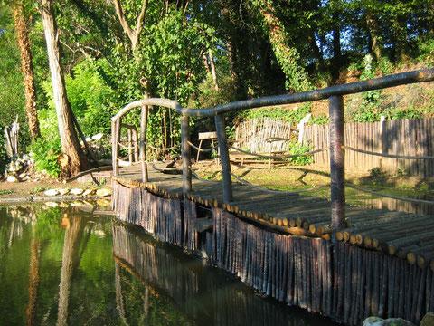Vue de la passerelle séparant les deux bassins de la mare pédagogique du Jardin de Paradis