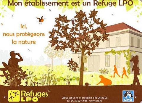 """Panneau """"Mon établissement est un Refuge LPO"""""""