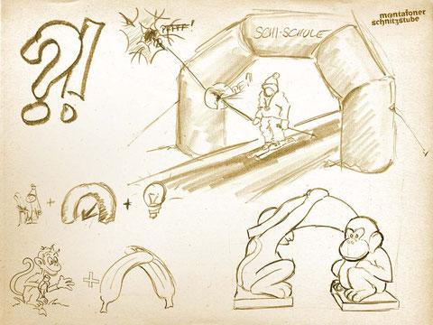 Montafoner Schnitzstube –Ideenfindung und Skizze zur Problemlösung