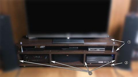 ゴム積層材のテレビ台