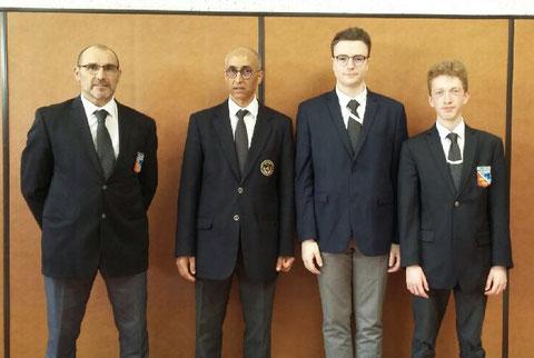 Nos 3 arbitres avec H.Ben Lahoucine (responsable de l'arbitrage de la ligue)