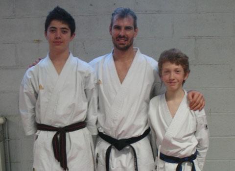 Tom Lemarchand, Pierre Penneman (entraineur départemental) et Kilian Prevost