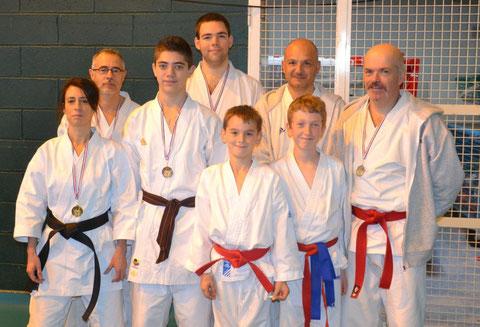 De gauche à droite: N.Guillon, H.Bussière, T.Lemarchand, J.Sarrazin, E.Thomassin, J-L.Thomassin, K.Prevost et P.Prevost