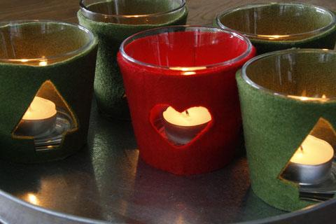 Weihnachtskerzen Hussen / Christmas candle cover