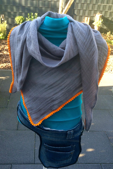 Sommerschal grau/orange / summer scarf grey/orange