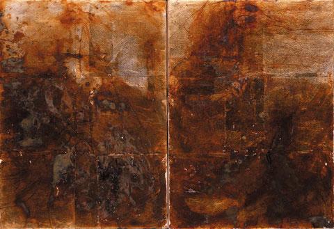 鳥の声 Voice of the bierds-To Isamu WAKABAYASHI (Japanese paper, Silver leaf, Pigments, Glue)