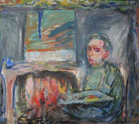 Autoritratto al caminetto, 1965, olio su tela, 70 x 80 cm