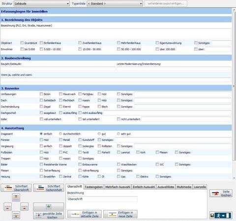 Gestaltungswerkzeug der Sachdatenerfassung