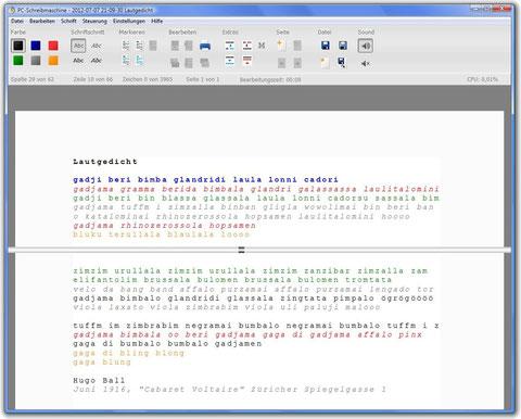 Schreibmaschine Bildschirmfoto