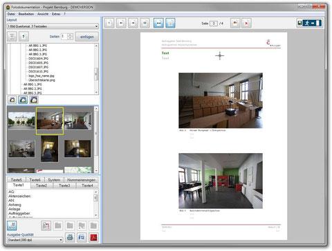 Fotodokumentation mit Layout - zwei Bilder Querformat
