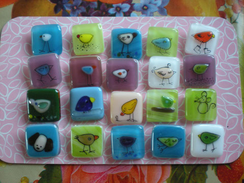 joanna hedley fused glass brooches