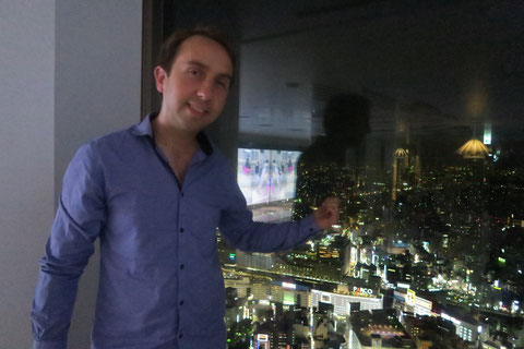 Oisin MacDiarmada on the top floor of Sunshine 60 Building in Tokyo
