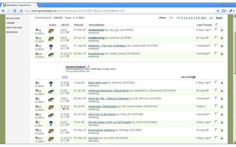 Suchergebnisse geocaching.com