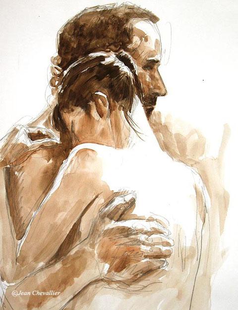 modèle vivant : couple. aquarelle Jean Chevallier