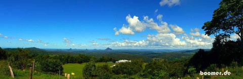 Aussicht auf die Glasshouse Mountains