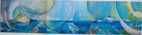Rêverie sur l'eau (Acrylique sur toile  300x80)