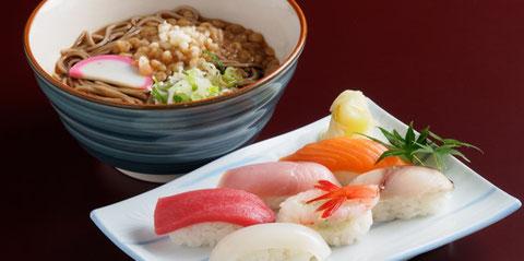 江別の寿司店 やま六鮨おすすめのランチメニュー 鮨・蕎麦セットです。