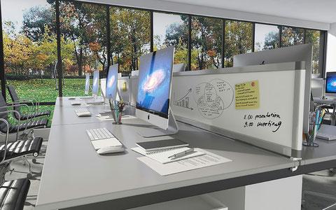 Whiteboard on desk